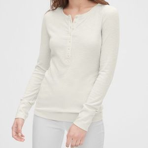 GAP Soft Slub Ribbed Henley in Milk White